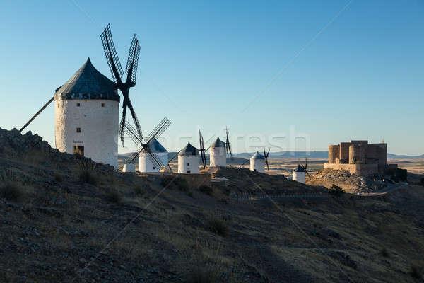 Windmills and castle at Consuegra, La Mancha, Spain Stock photo © backyardproductions