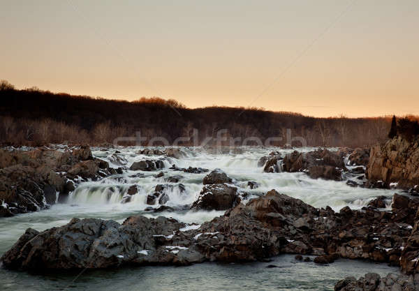 Sun sets behind Great Falls near Washington Stock photo © backyardproductions