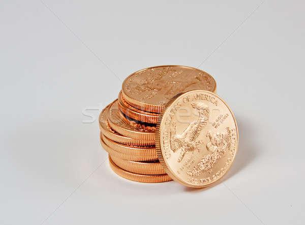 Stockfoto: Gouden · munten · goud · adelaar · munten · een