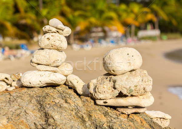 Stack of pebbles by ocean seaside Stock photo © backyardproductions