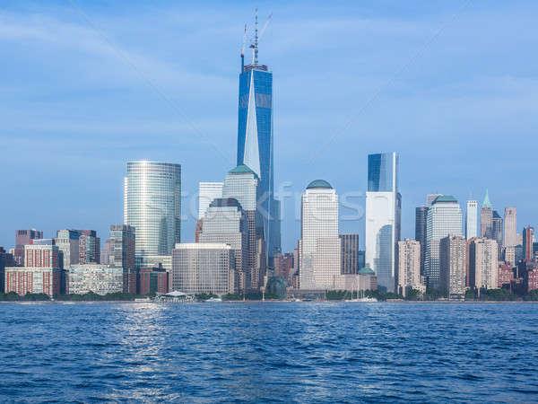 Photo stock: Skyline · baisser · Manhattan · crépuscule · New · York · City · échange