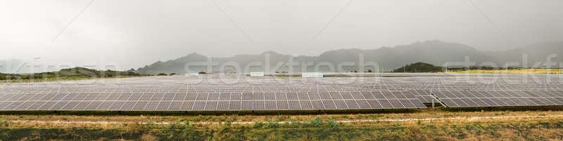 Panneau solaire centrale électrique nuageux jour Photo stock © backyardproductions