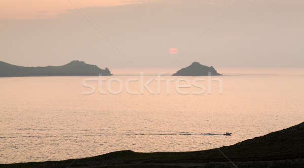 Sunset near Doyden Castle on coastline at Port Quin Stock photo © backyardproductions