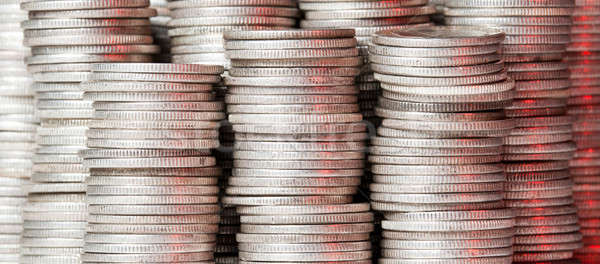 Stacks of pure silver coins Stock photo © backyardproductions