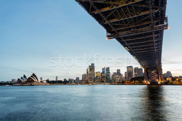 Dramatic panoramic sunset photo Sydney harbor Stock photo © backyardproductions