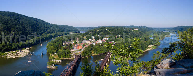 Stock photo: Panorama over Harpers Ferry from Maryland Heights
