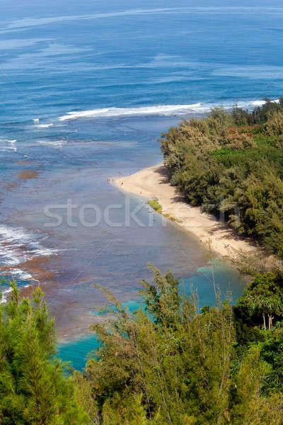 Ke'e beach on Kauai from trail Stock photo © backyardproductions