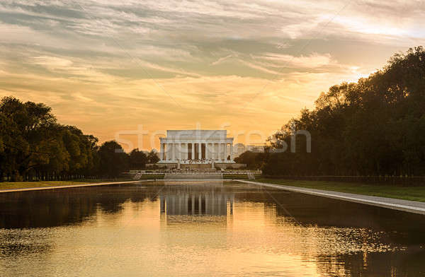 Setting sun on Jefferson memorial reflecting Stock photo © backyardproductions
