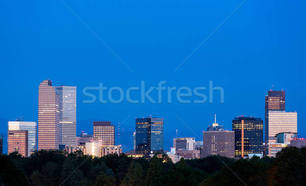 Skyline dawn Colorado stad park Stockfoto © backyardproductions