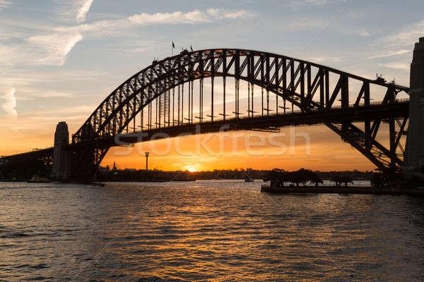 Сток-фото: Сидней · моста · закат · солнце · оранжевый