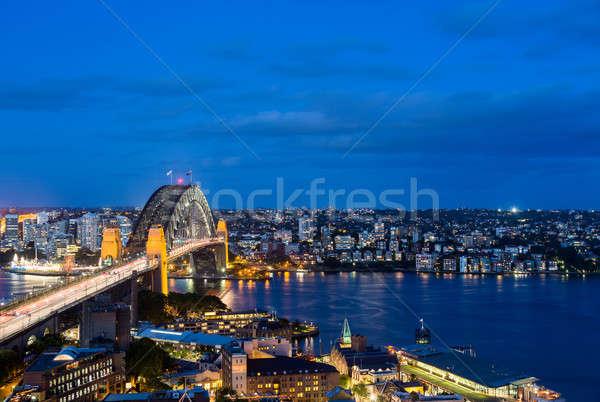 Dramatic panoramic night photo Sydney harbor Stock photo © backyardproductions