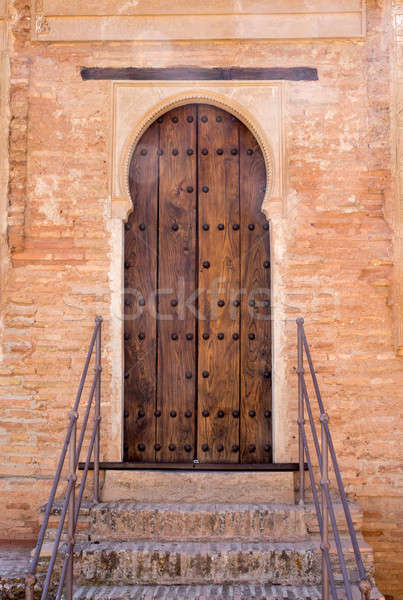Arabic inscribed doorway Alhambra palace Granada Stock photo © backyardproductions
