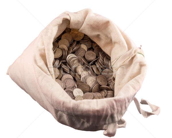 Ruha pénz táska ezüst érmék fehér Stock fotó © backyardproductions