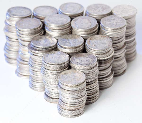 Zuiver zilver munten veel oude gezicht Stockfoto © backyardproductions