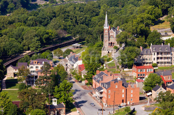 Aerial view Harpers Ferry national park Stock photo © backyardproductions