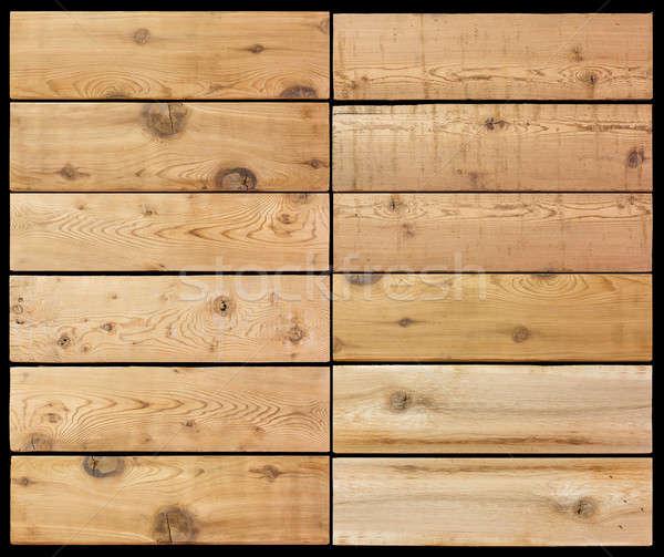 Selection of wooden planks isolated black Stock photo © backyardproductions