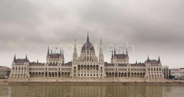 ハンガリー語 議会 建物 ブダペスト 表示 銀行 ストックフォト © backyardproductions