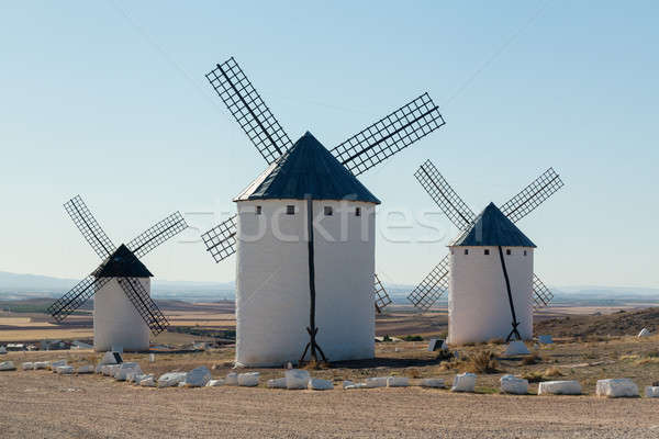 Three windmills at Campo de Criptana La Mancha, Spain Stock photo © backyardproductions