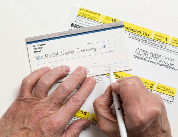 Adóhatóság adó űrlap férfi kaukázusi kezek Stock fotó © backyardproductions