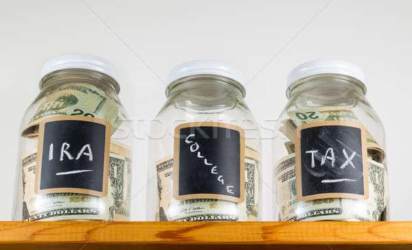 Drie glas houten plank spaargeld krijt Stockfoto © backyardproductions