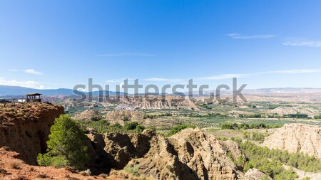 Overlook over rugged eroded valley near Guadix Spain Stock photo © backyardproductions