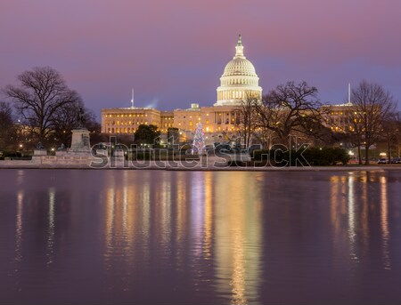 вечер свет здании Вашингтон мнение купол Сток-фото © backyardproductions