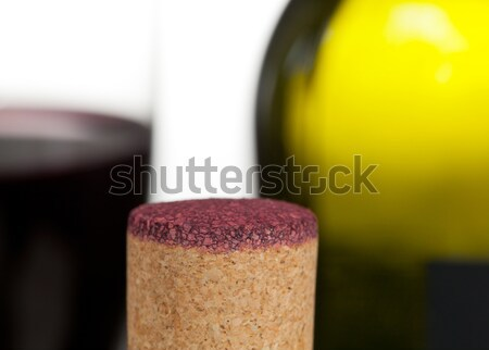 Red wine soaked cork in front of glass Stock photo © backyardproductions