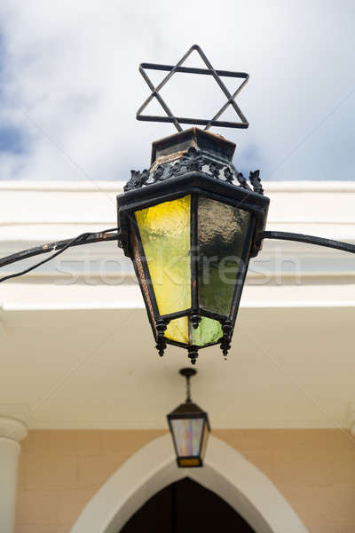Antieke lamp entree synagoge licht glas Stockfoto © backyardproductions