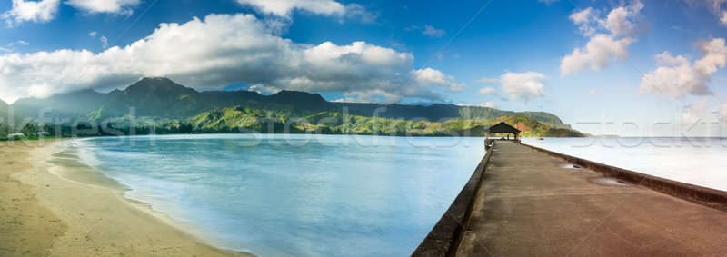 Widescreen panorama of Hanalei Bay and Pier on Kauai Hawaii Stock photo © backyardproductions