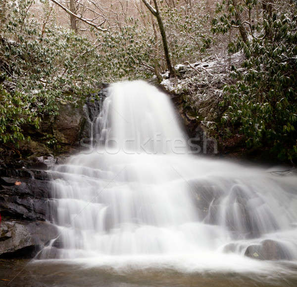 Stock photo: Laurel Falls in Smoky Mountains in snow