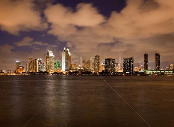 Laranja nuvens luz San Diego linha do horizonte pôr do sol Foto stock © backyardproductions