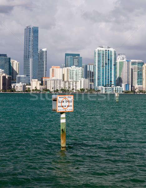 View Miami skyline segno cityscape nuvoloso Foto d'archivio © backyardproductions