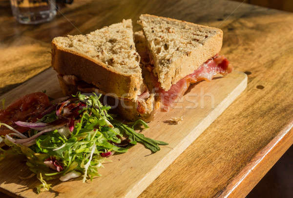 Thick wholemeal bread bacon sandwich Stock photo © backyardproductions