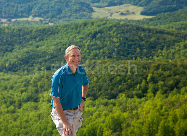 Hiker overlooking Shenandoah valley Stock photo © backyardproductions