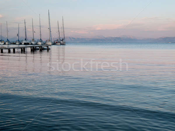 Doca pôr do sol mediterrânico para cima céu Foto stock © backyardproductions