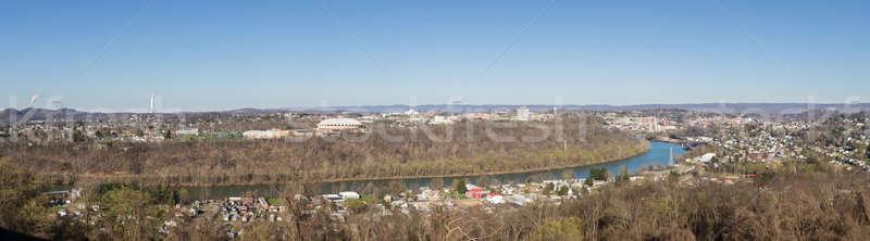 Város Nyugat-Virginia panorámakép sziluett városkép otthon Stock fotó © backyardproductions