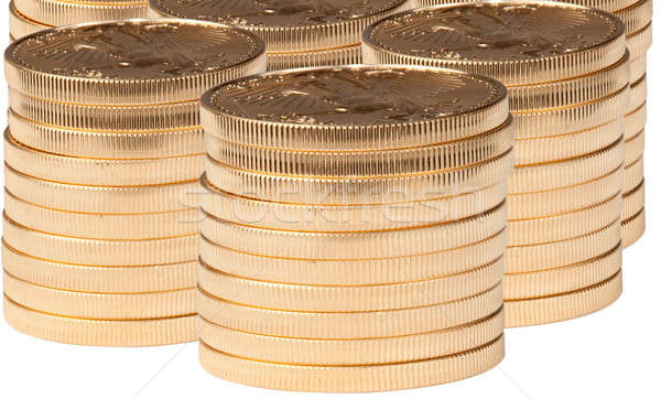 Zuiver gouden munten verticaal geïsoleerd geld metaal Stockfoto © backyardproductions