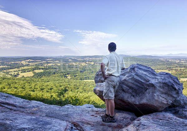 Senior hiker overlooks Virginia Stock photo © backyardproductions