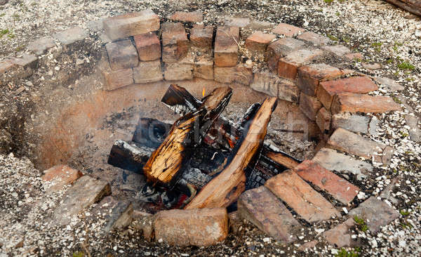 Old brick firepit Stock photo © backyardproductions