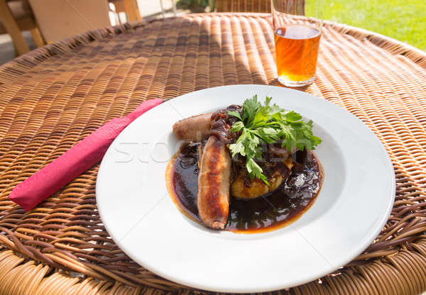 Sausage and mash with gravy in english pub Stock photo © backyardproductions