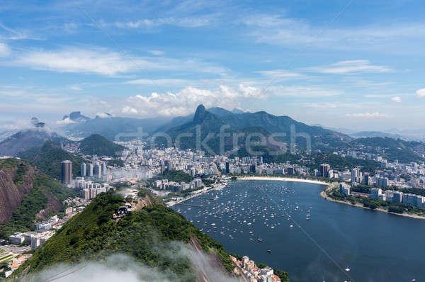 Kikötő sziluett Rio de Janeiro Brazília légifelvétel város Stock fotó © backyardproductions