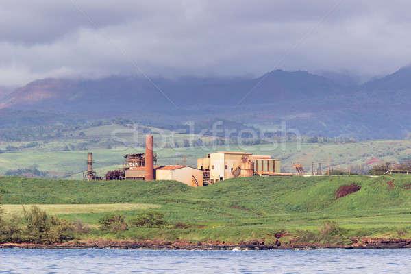 Abandoned sugar mill on coast of Kauai Stock photo © backyardproductions