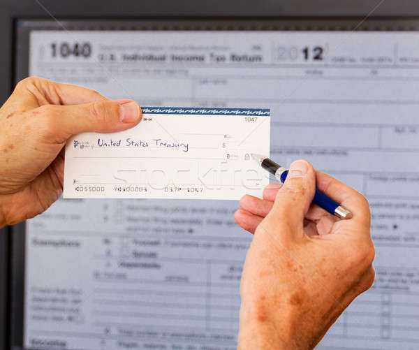 USA tax form 1040 for year 2012 and check Stock photo © backyardproductions