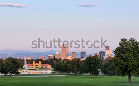 Linha do horizonte madrugada Colorado cidade parque Foto stock © backyardproductions