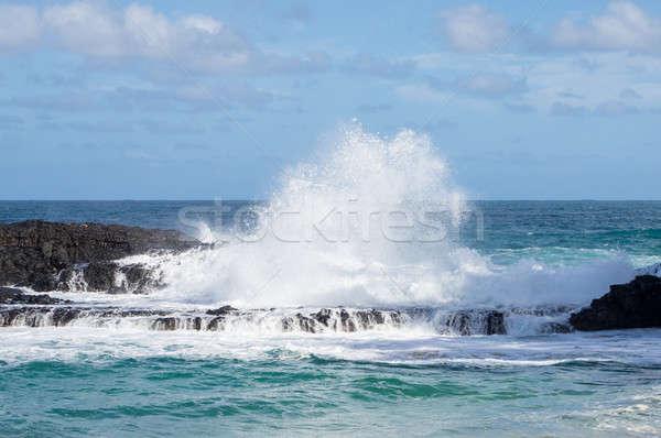 Powerful waves flow over rocks at Lumahai Beach, Kauai Stock photo © backyardproductions