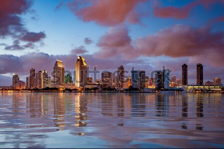 Orange clouds reflect light from San Diego Skyline Stock photo © backyardproductions