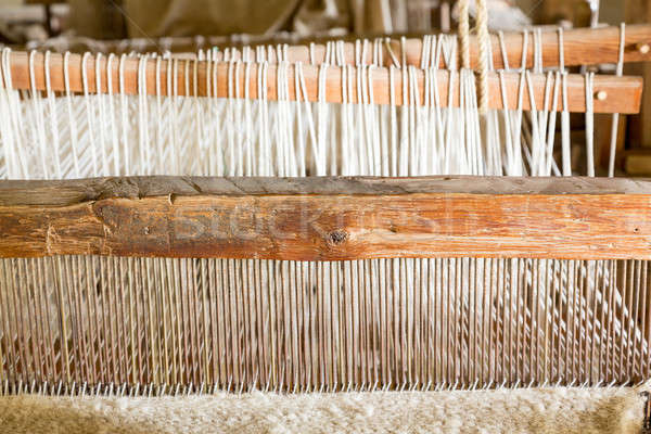 Old weaving loom in spanish mission Stock photo © backyardproductions