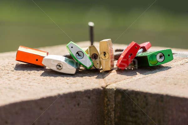 Lovers locks in old town of Heidelberg Germany Stock photo © backyardproductions