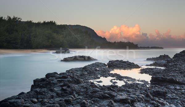 Tengerpart hajnal kövek bemozdult hullámok óceán Stock fotó © backyardproductions