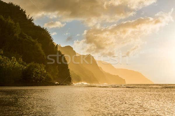 Sunset along Na Pali coast from Ke'e Beach Stock photo © backyardproductions